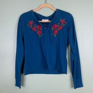 Hollister Lace Up Floral Embroidered Sweatshirt XS